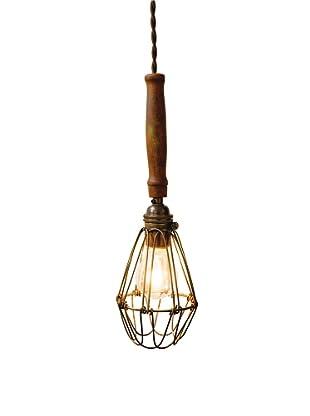 Industrial Chic Brass Wire Lighting Fixture, Sepele Hardwood