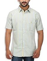 SPEAK Men's Yellow Checkered Premium Cotton Half Sleeves Casual Shirt