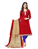 Indian utsav fashionable red colour unstiched cotton salwar kameez