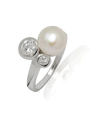 Valero Pearls - Anillo embellecido con Perlas de agua dulce - 925 Plata esterlina - Pearl Jewellery, Anillo con Zirconia - complementos de mujer - En diferentes tamaños - 60200012