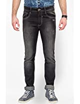 Solid Black Slim Fit Jeans Le Bison