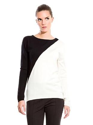 Cortefiel Jersey Bicolor (Blanco / Negro)