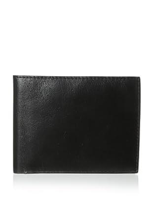 Trafalgar Men's Milled Leather Slimfold Wallet (Black)