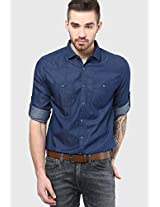 Blue Slim Fit Casual Shirt Fame Forever