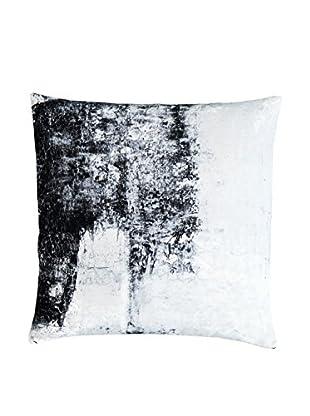 Lene Bjerre Rilene White & Cement-Grey Print Throw Pillow