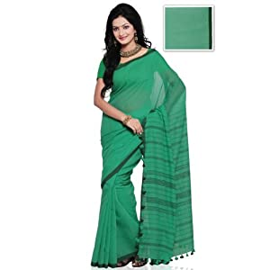 Sea Green Pure Bengal Handloom Silk and Cotton Saree with Blouse