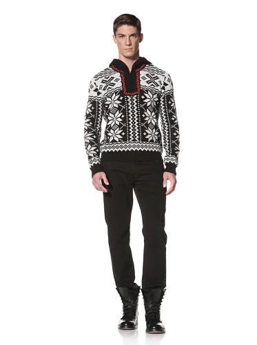 LOVE Moschino Men's Fair-Isle Hooded Sweater (Black/Off White)