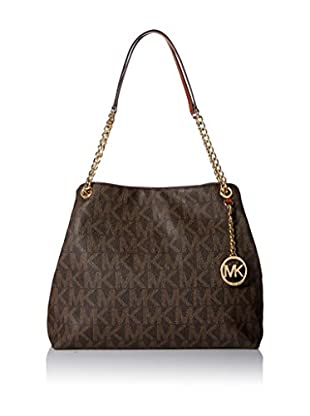 MICHAEL Michael Kors Women's Jet Set Chain Signature Large Shoulder Tote, Brown