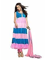 Price Bet Pink and Sky Blue Net Brasso and Velvet Anarkali Suit Salwar Suit