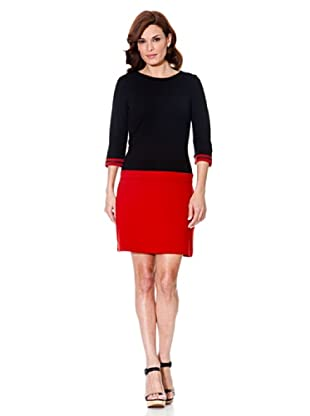 Cortefiel Kleid Color Block (Rot)