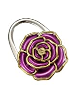 Flower Design Folding Handbag Holder Bag Hanger Purse Table Hook (violet)