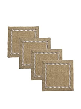 Henry Handwork Set of 4 Pure Linen Embroidered Cocktail Napkins, Natural