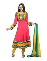 Sareeshut Women's cotton Regular Fit Anarkali Suits(SareesHutSKD43, Pink , 38)