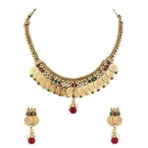Voylla Temple Jewellery Choker Set Featuring Paisley Drop with Goddess Lakshmi