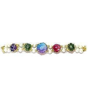 Daamak Jewellery Pearls With Multi Color Agate Bracelet