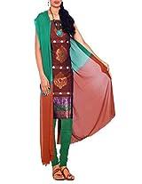 Unnati Silks Women Pure Handloom Kanchi Cotton Brown and Green salwar kameez dress material