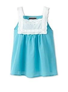 Saurette Girls Eyelet Trim Blouse (Bluelight)