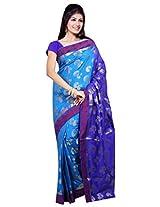 ISHIN Polly Silk Blue Saree