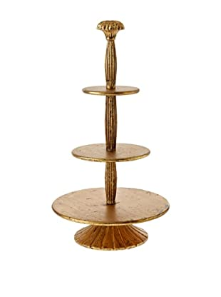 3-Tier Antiqued Wood Serving Tray, Gold