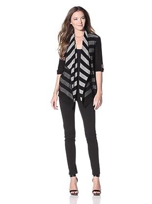 Calvin Klein Women's Striped Flyaway Sweater (Birch/Black)