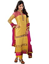 FadAttire Embroidered Chiffon Suit-Yellow-ACRA05