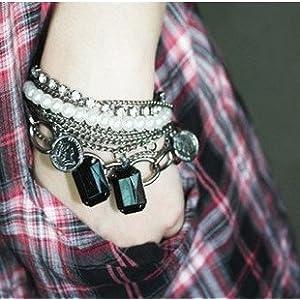Crunchy Fashion Pearl Charm Multilayer Bracelet for Women
