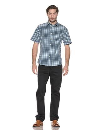 Rufus Men's Plaid Button-Up Shirt (Blue/Green)
