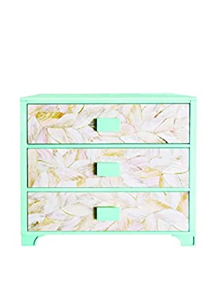 Couture Solana 3-Drawer Chest, Natural Mother of Pearl/High Gloss Pale Blue