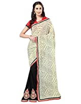 Admyrin Black and Cream Georgette Saree with Red Blouse Piece