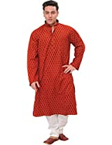 Exotic India Cranberry-Red Casual Kurta Pyjama Set with Block-Printed Boot - RedGarment Size XX-Large