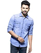 Zovi Slim Fit Casual Blue Denim Shirt With Press Buttons