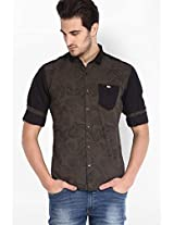 Printed Olive Casual Shirt Locomotive