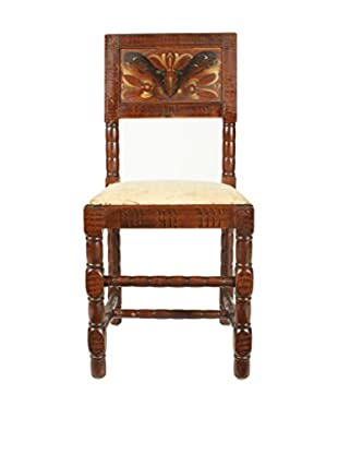 Swedish Folk Art Kurbits Chair, Brown