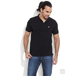 Wrangler Solid Pique Polo T-Shirt -Black-S
