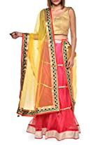 Luxe pink and yellow bridal lehenga set