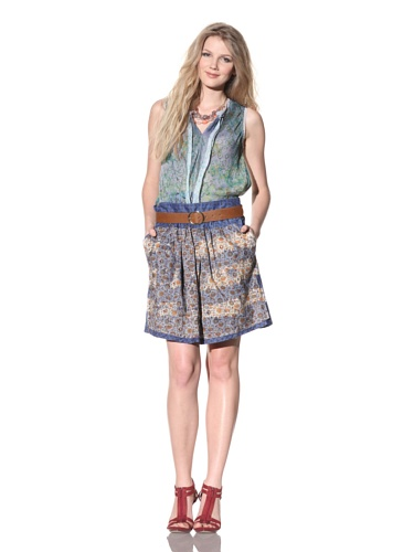 Gregory Parkinson Women's Cotton Skirt with Pockets (Blue Paisley)