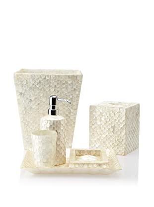 Pearl Dragon Wings Capiz 6-Piece Bathroom Set (White)