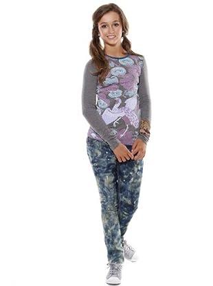 Custo Camiseta Swany igle (gris / rosa)