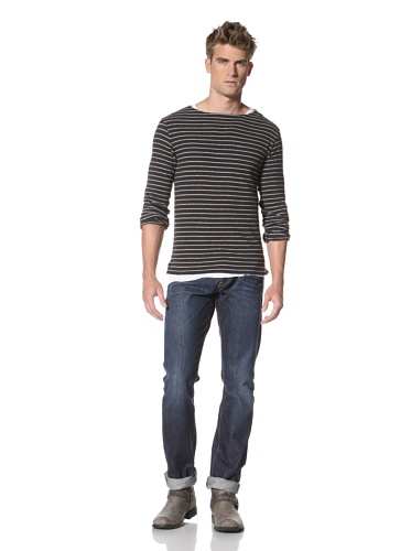 R13 Men's Long Sleeve Knit Shirt (Black/Grey)