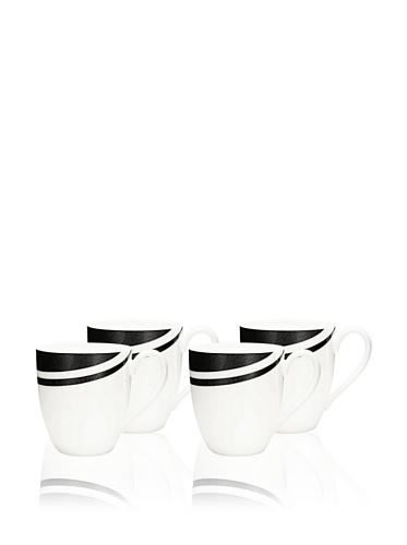 Noritake Everyday Elegance Set of 4 Metaal Mugs (White/Black)