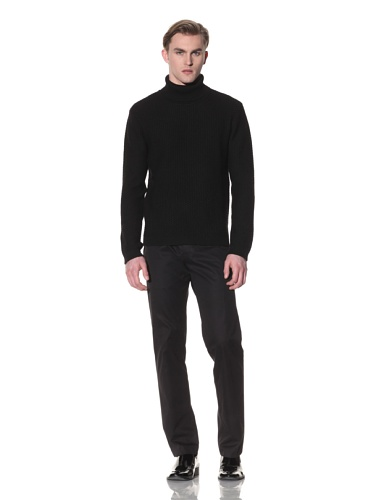 Halston Men's Wool Pebble Knit Turtleneck (Black)