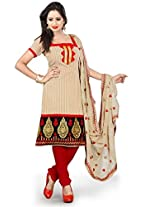 Livaaz Womens Cotton Unstitched Dress Material (Sf100526 _Beige)
