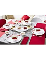 Luminarc Radiant White And Red Red Dinner Set - Set Of 27