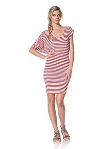 Luna  Women's Bryce V-Neck Striped Dress (Red/White Stripe)