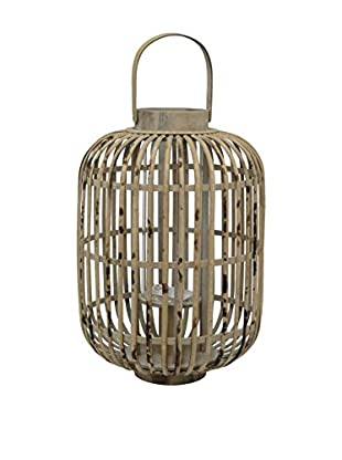 Three Hands Medium Caged Bamboo Lantern, Brown