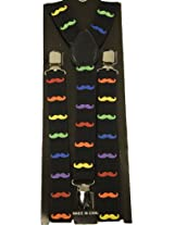 Men's Unisex Clip-on Braces Elastic Rainbow Mustache