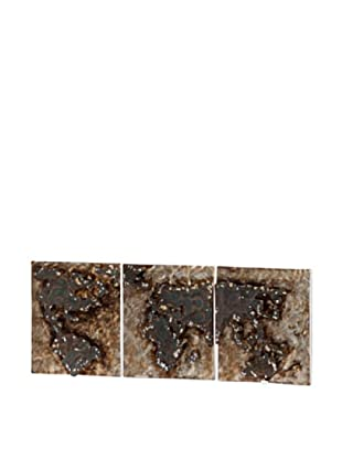 Mercana Where for Art Thou Rustic Metal World Map Triptych