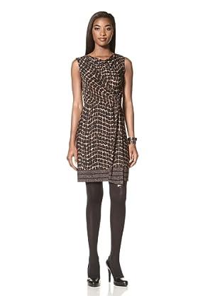 Donna Morgan Women's Asymmetrical Draped Top with Slim Skirt (Black)