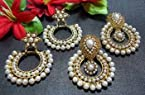 Earrings - Buy 2 pearl polki earring set