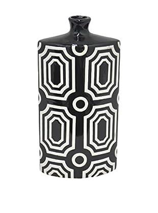 Three Hands Tall Oblong Geometric Ceramic Vase, Black/White